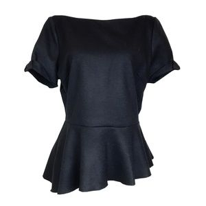 Elie Tahari Black Cuffed Sleeve Asymmetrical Top